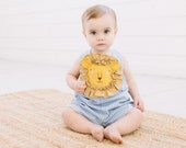 Friendly Lion Romper// Lion Romper //Blue Linen Romper //Handmade Boy's Outfit // Baby Shower Gift