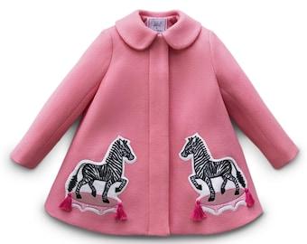Girl's Pink Zebra Coat// Girl's Embroidered Dress Coat// Zebra Coat with Tassels// Girls Wool Outerwear// Heirloom Clothing