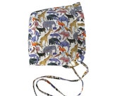 Animal Print Ruffled Bonnet in Liberty London Queue for the Zoo Cotton Lawn