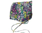 Floral Ruffled Baby Bonnet in Liberty London Painters Meadow Cotton Lawn
