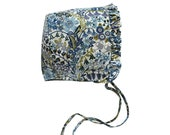 Ruffled Baby Bonnet in Liberty London Cotton Blue Floral Print