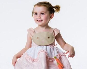 Girl's Bunny Dress/ Pink Gingham Bunny Dress/ Handmade Gingham Girl's Sundress/ Bunny and Carrots Dress