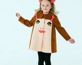 Merino Wool Chloe Girl Coat with Pink Bows