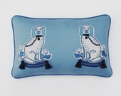 Embroidered Decorative Pillow with Dogs in Blue// Embroidered Dogs on Wool Pillow// Chinoiserie