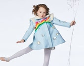 Girl's Rainbow Coat// Girls Blue Rainbow Butterfly Dress Coat// Handmade Girls Wool Coat// Toddler Girl's Winter Coat
