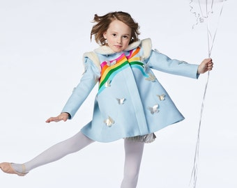Girl's Rainbow and Butterfly Coat in Sky Blue