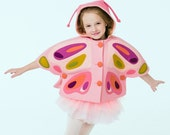 Girls Pink Butterfly Cape// Peony Butterfly Capelet// Felt Butterfly Cape// Wool Winter Cape// Handmade Girls Clothing