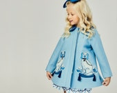 Girl's Blue Dog Coat// Girl's Embroidered Dress Coat// Blue Chinoiserie Coat// Girls Wool Outerwear// Heirloom Clothing