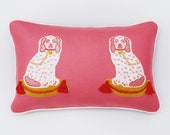 Embroidered Pink Dog Decorative Pillow: Little Goodall + Willa Heart Collection