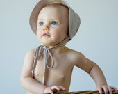 Girl's Linen Sun Bonnet // Wide Brim Baby Bonnet in Flax Linen  // Handmade Linen Beach Bonnet//  Baby Girl's Summer Bonnet