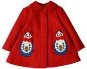 Red Merino Wool Matryoshka Coat