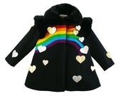 Girl's Merino Wool Rainbow Coat: Queen of Hearts Coat