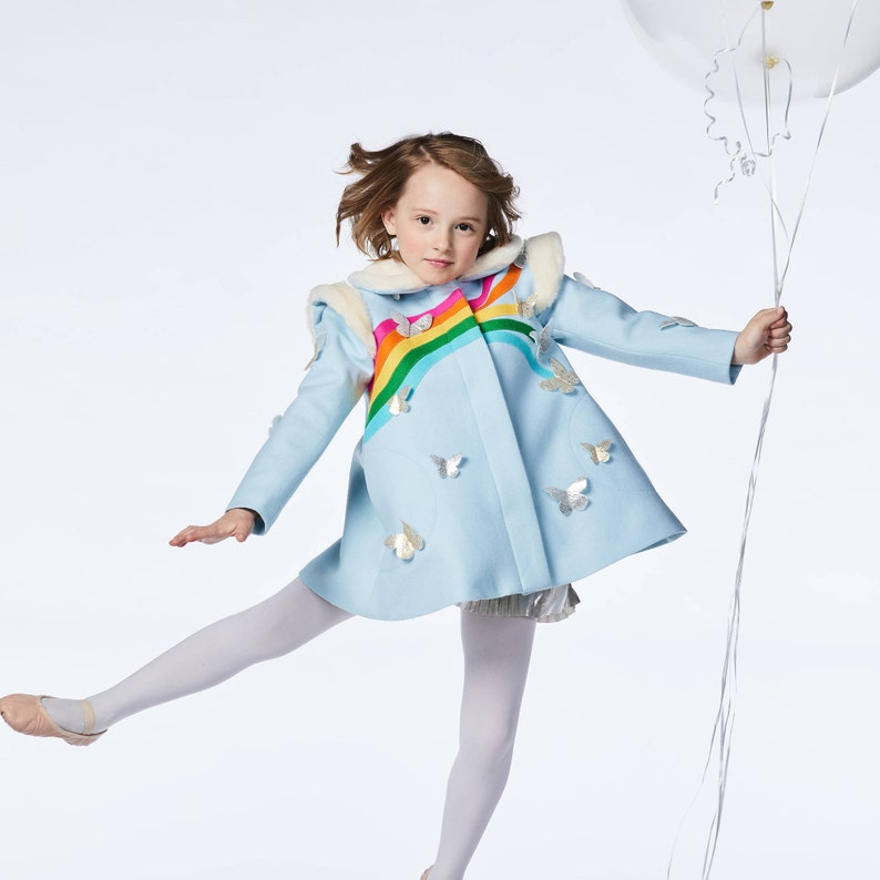 Girl's Rainbow and Butterfly Coat in Sky Blue image 0