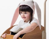 Girls Merino Wool Bunny Hat: Heather Oatmeal and Pink