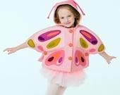Girls Pink Butterfly Cape// Peony Butterfly Capelet// Felt Butterfly Cape// Wool Winter Cape// Handmade Girls Clothing