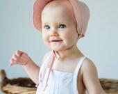 Baby Bonnet in Pink Linen//  Scallop Edge Sun Bonnet// Handmade Linen Beach Bonnet// Girl's Summer Bonnet