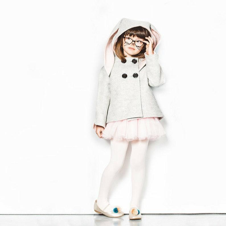 1692fb1f1 Girls Bunny Coat   Girls Handmade Halloween Costume   Grey