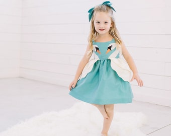 Blue and Cream Swan Princess Party Dress