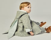 Boys Grey Wool Bunny Coat// Boys Rabbit Peacoat// Grey Wool Bunny Jacket// Baby Bunny Coat// Toddler Boy Clothing// Easter Bunny Coat