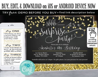 Surprise Birthday Invitation 60th Party Black Gold Glitter FREE DEMO Before You Buy Corjl Edit Online ToolEdit And Print Now