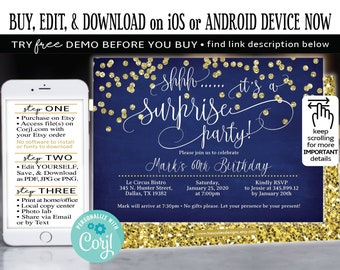 Navy Blue Birthday Invitation Surprise 60th FREE DEMO Before You Buy Corjl Edit And Print Now