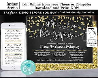 Spanish Birthday Invitation Surprise 60 Anos Fiesta SorpresaBlack Gold Glitter Edit With Corjl From Your Phone