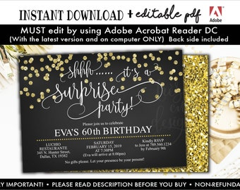 Surprise 60th Birthday Invitation Instant Download Black And Gold Glitter Invitations Edit YOURSELF
