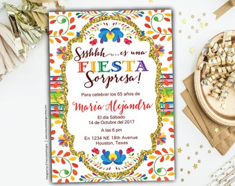 Surprise 60th birthday invitations, Fiesta Spanish birthday Invitation, Mexican Theme, Black Gold Glitter, Party 60th, Printable