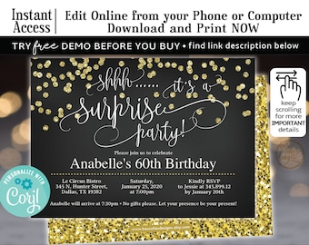 Surprise Birthday Invitation 60th Party Black Gold GlitterEditable Invitations Template With Corjl Edit From Your Browser