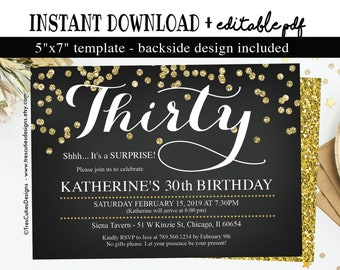 30th Birthday Surprise Invitation Adult Invitations For Men Women 30 Years Old Black And Gold Instant Download
