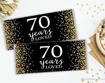 HAPPY 70TH Personalized Candy Bar Wrappers \u2013 Printable Birthday Hershey/'s Wrappers with PHOTO name /& text \u2013 Party favors gift or gift tag