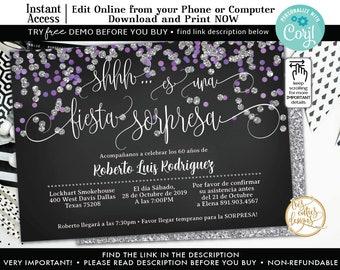 Surprise Birthday Silver Confetti Purple And Invitations SPANISH Invitation60th BirthdayFREE DEMO Before You BuyCorjl