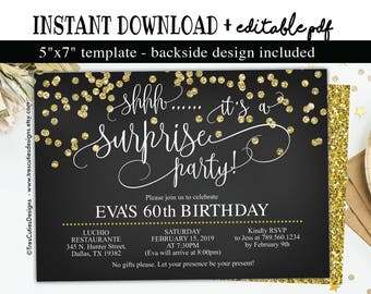 Birthday invitation etsy surprise 60th birthday invitation instant download black and gold glitter 60th birthday invitations 60th birthday edit yourself filmwisefo