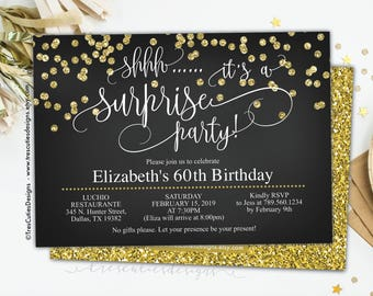 Surprise 60th birthday invitations etsy surprise adult party gold confetti shhh its a surprise invitation 60th birthday invitation black and gold glitter for women for men filmwisefo
