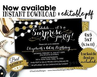 surprise 60th birthday invitations etsy