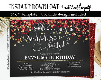 Surprise Birthday Invitation 60th Birthday Party Black Etsy