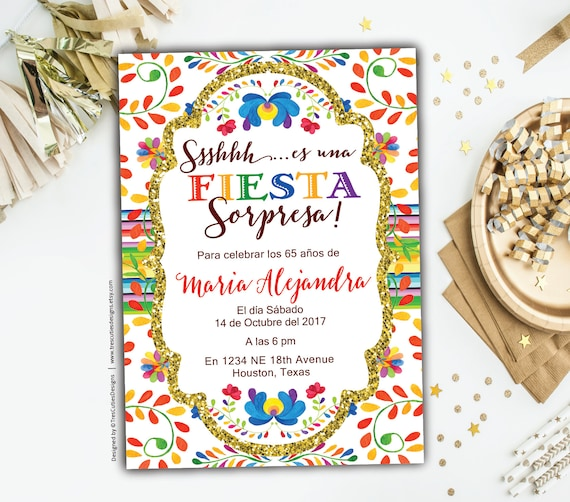Surprise 60th Birthday Invitations Fiesta Spanish Birthday Etsy
