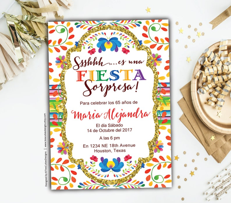 Surprise 60th Birthday Invitations Fiesta Spanish Invitation Mexican Theme Black Gold Glitter Party Printable
