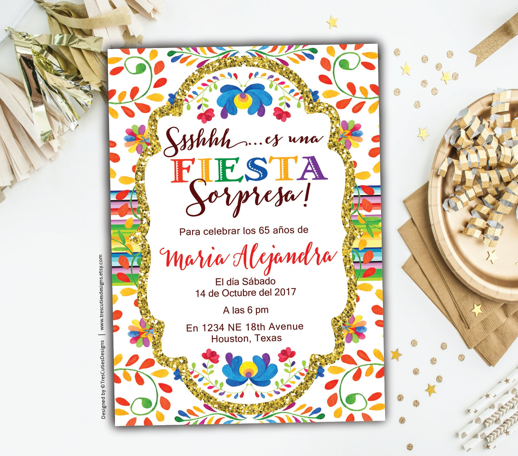Surprise 60th Birthday Invitations Fiesta Spanish Birthday