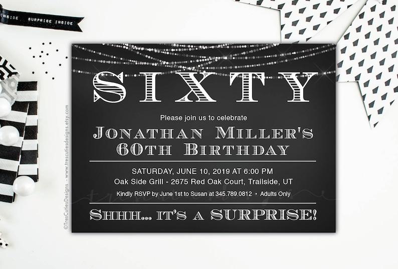 Surprise 60th Birthday Invites Adult Invitations