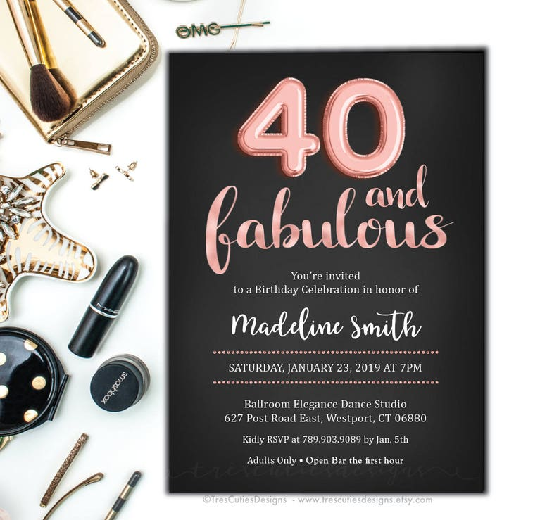 40th Birthday Invitation Rose Gold Forty And Fabulous Adult Invitations Printable