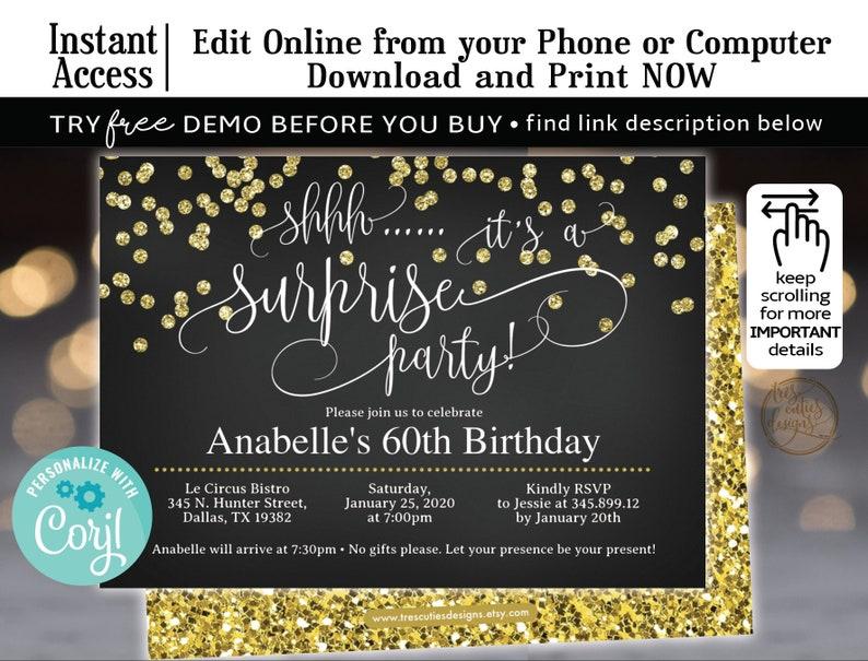 Surprise Birthday Invitation 60th Party Black Gold