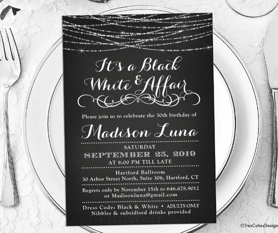 its a black and white affair party invitations black and etsy
