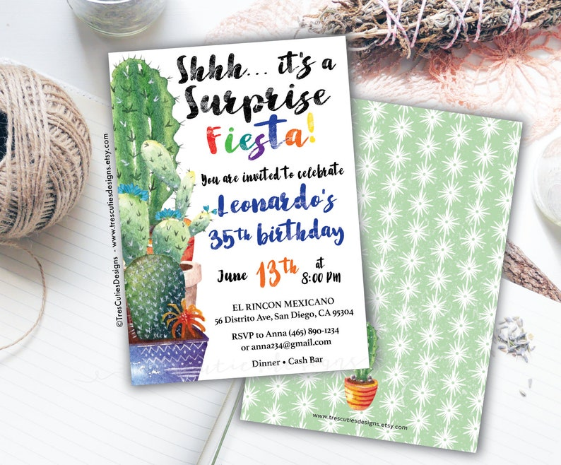 Fiesta Theme Birthday Adult Invitations For Men Mexican 40th 30th Party