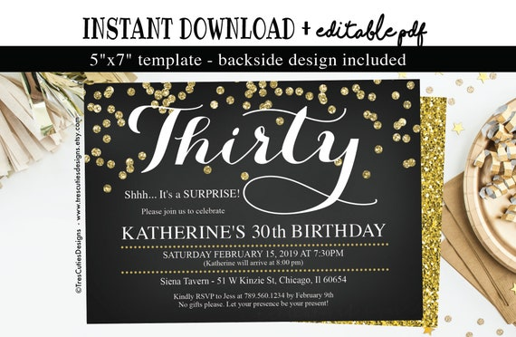 30th Birthday Surprise Invitation Adult