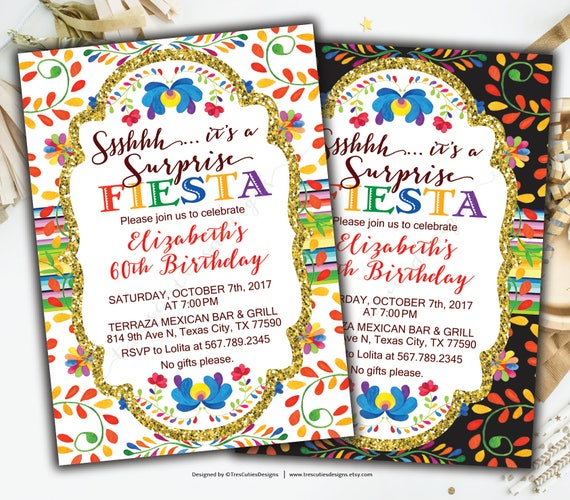 Surprise 60th Birthday Invitations Fiesta Spanish Birthday Invitation Mexican Theme Black Gold Glitter Party 60th Printable