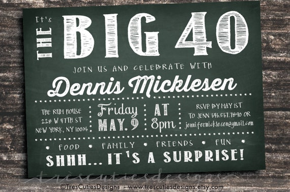 Adult Birthday Invitation Male Dk Green Chalkboard