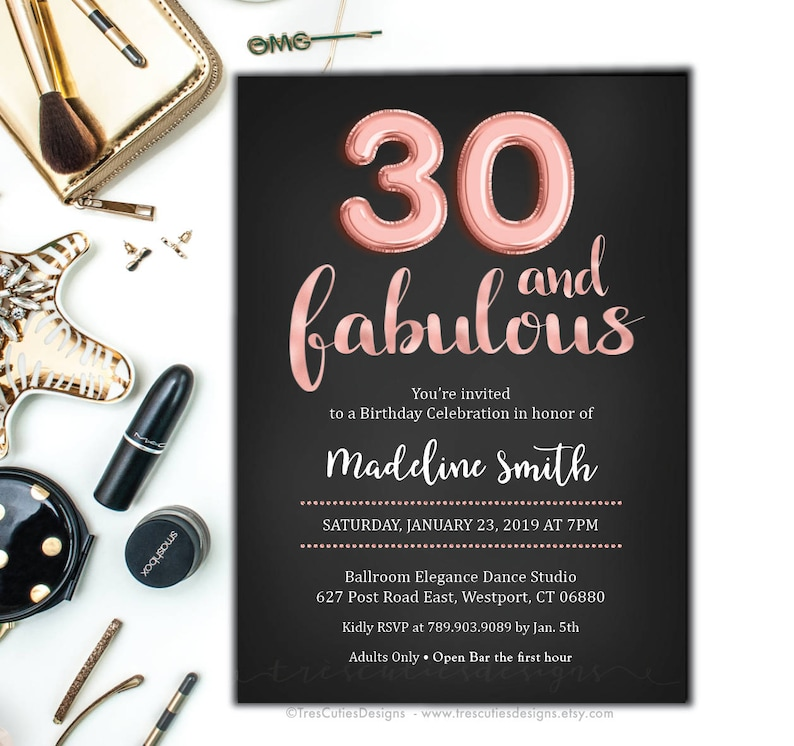 30th Birthday Invitation Rose Gold Thirty And