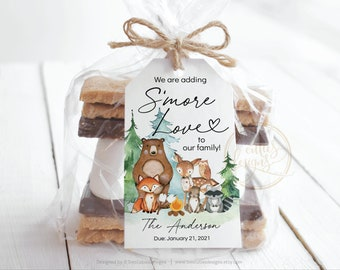 Woodland S'mores Baby Shower Tags, Woodland Baby Shower S'mores Love Tags, Woodland Favor Tags for All Events, Editable Template with Corjl