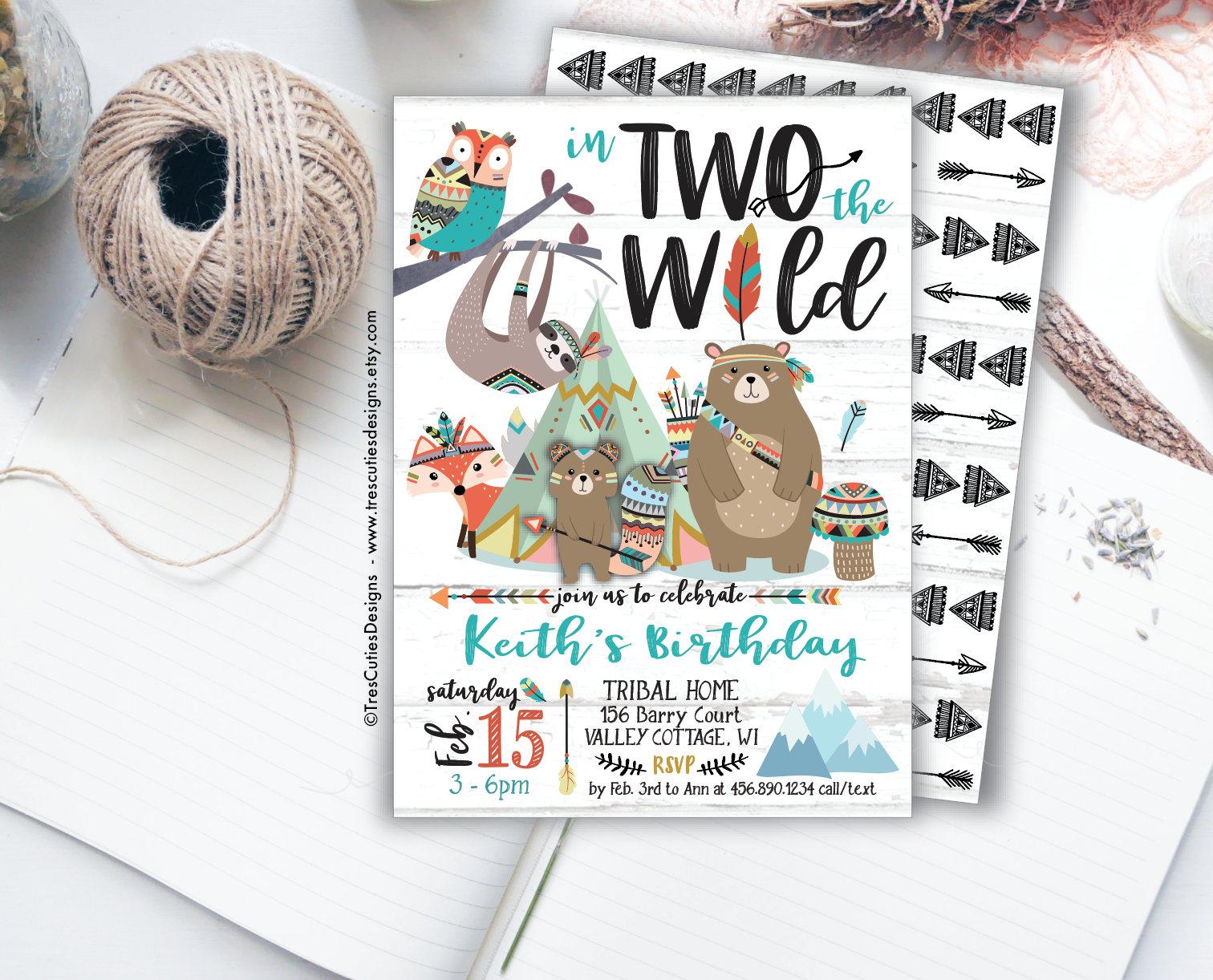 In Two The Wild Birthday Invitation Tribal Boho Boy | Etsy